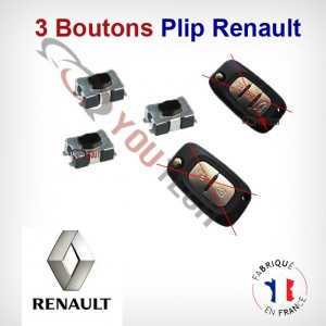 3 Boutons cle Renault