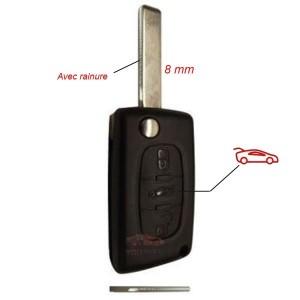 Coque télécommande Peugeot 3 Boutons